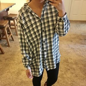 Black and white oversized flannel